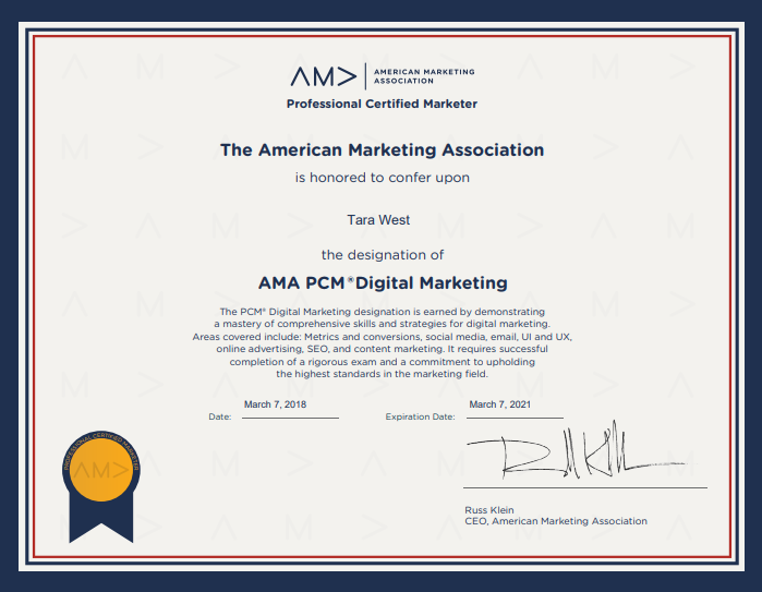 Tara West, of Gogo BDS, Earns Professional Certified Marketer (PCM ...